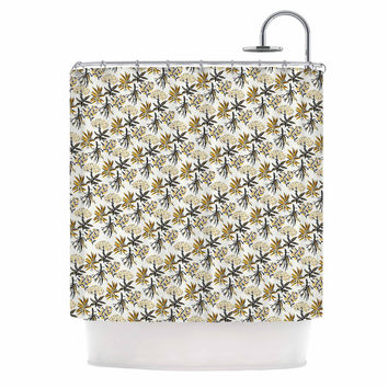 """Pom Graphic Design """"Golden Apothecary """" Gold Black Shower Curtain"""