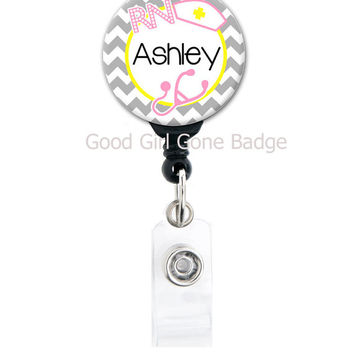 Personalized Badge Reel - Chevron Nurse Theme - Choice of Colors - Badge Holder