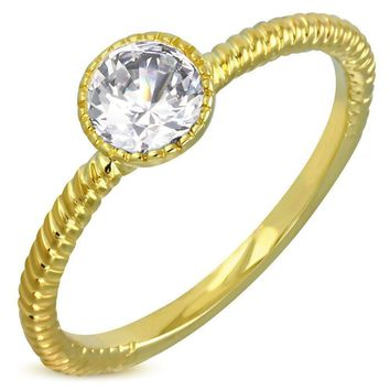 ON SALE - Fairy Tale Twisted Rope Bezel Set IOBI Crystals Solitaire Ring