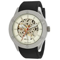 "Breda Women's 1450_blk ""Addison"" Mechanical See-Through Rubber Strap Watch"