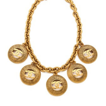 CHANEL, vintage, cc, coco, Medallion, gold chain necklace, costume, necklaces, jewelry at HauteDecades on Etsy