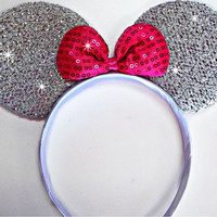 MINNIE MOUSE EARS Headband Silver Sparkle Shimmer - Hot Pink Sequin Bow Mickey