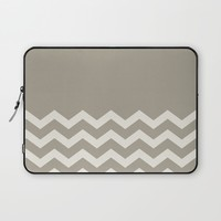 Chevron Colorblock Alabaster Blue Gray Laptop Sleeve by Beautiful Homes
