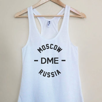 DME - Moscow Russia - Light Weight White Racerback Womens Tank Top - Sizes - Small Medium Large