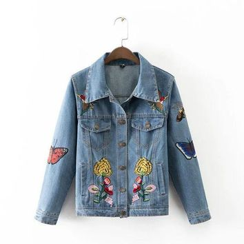 ESBONG Autumn Slim Butterfly Embroidery With Pocket Long Sleeve Denim Jacket [8542264391]