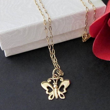 Elegant Cut Out Butterfly Charm Necklace 14k Gold Filled and Vermeil Gift Boxed