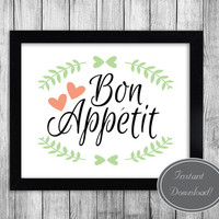 Kitchen Printable Wall Art, 'Bon Appetit' home decor, dining room art, quote posters, instant downloadable, design 8x10