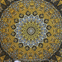 Yellow Hippy Hippie Star Psychedelic tapestry Elephant Mandala tapestries Bohemian Indian Elephant Wall hanging Ethnic Boho throw bedspread