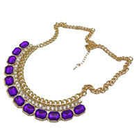 Purple Crystal and Stone Statement Chain Necklace