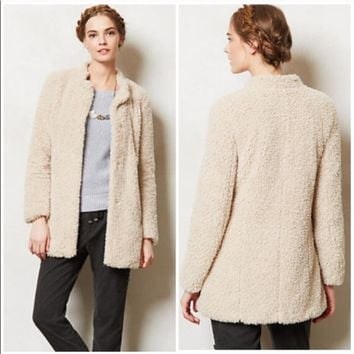 Anthropologie Elevenses Lumi Sherpa Faux Fur Coat
