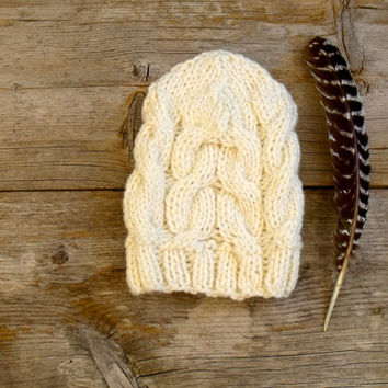 Women's Chunky Cable Knit Hat in Cream, Off White, Slouchy Beanie