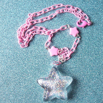 Wishing Star - Holographic Glitter Star Necklace