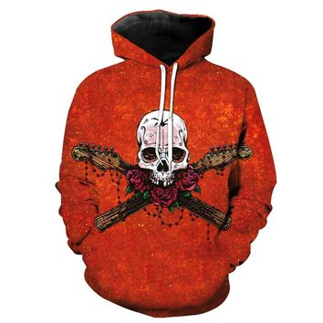 Punk Rock 3D Skull And Rose Print Hoodie High Quality