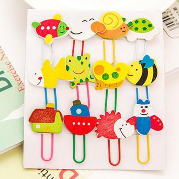 12Pcs/set Kawaii Cartoon Animal Pattern Wooden Paper Note Clips Bookmark Paperclip Learning Office Supplies