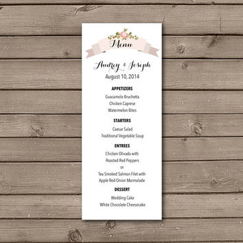Printable Rose Wreath Menu Design