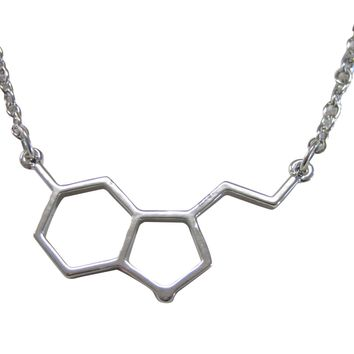 Petite Serotonin Molecular Design Pendant Necklace