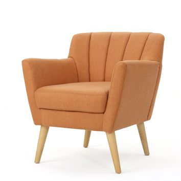 Madelyn Mid Century Modern Fabric Club Chair