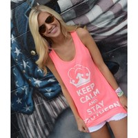 Unisex Keep Calm and Stay Southern Tank Top in Neon Pink by Lauren James