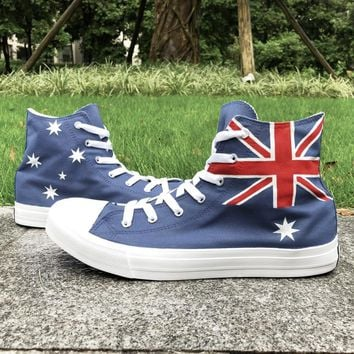 Wen Australia Flag Hand Painted Shoes Men Women High Top Athletic Sneakers Navy Blue Painting Canvas Shoes Lace up Plimsolls