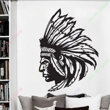 New Redskin Native American Indian Chief Wall Decal Sticker Decor Wall Art Vinyl Home decor wall stickers size 56x80cm