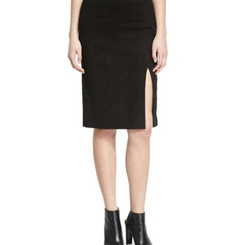 Alice + Olivia Wanda V-Neck Sleeveless Suede Bodysuit & Tani Suede Pencil Skirt, Black
