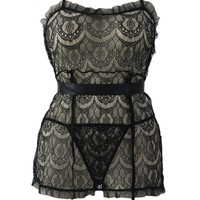 Plus Size Flirty Sexy Delicate Lace Apron Babydoll and Panty