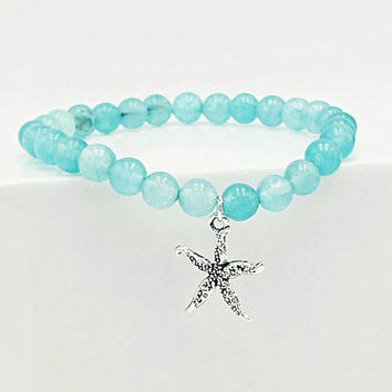 Aquamarine gemstone bracelet, beaded bracelet, beach bracelet, starfish charm, charm bracelet, stretch bracelet, beach jewelry, stretchy