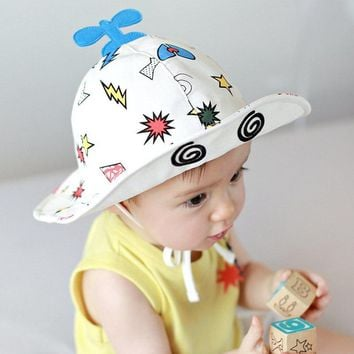 Cotton Cute Plane Floppy Cat Girl Boy Spring Summer Lacing Wire Wide Bucket Hat Flat Hunting Fisherman Outdoor hiking Cap Kid
