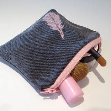 Zippered Feather Denim Coin Purse - Handmade