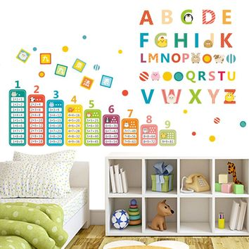 carton animals English alphabet Nine multiplication tables kids room baby nursery teaching tools wall sticker home decor decal