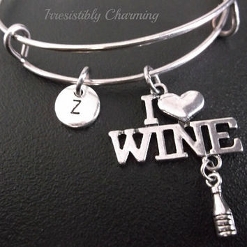 I Love wine! bracelet, Stainless Steel Expandable Bangle, monogram personalized item No.236