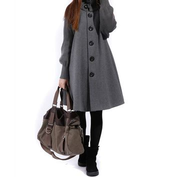 Woolen coat female Spring Autumn new women's single-breasted windbreaker winter cloak knit long-sleeved high o-neck trench coat
