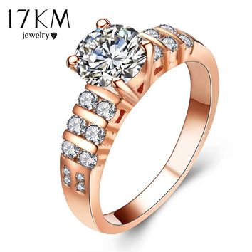 17KM Geometry Cutting Stone Crystal Square Rings For Women Rose Gold Color Anniversary Wedding Ring Jewelry Gift Free shipping