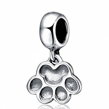 Hoobeads 925 Sterling Silver Puppy Dog Paw Dangle Charms Fits European Charms Bracelets