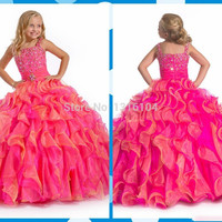 Hot Pink Gorgeous Cute Ball Gown Girls  Pageant Dresses Ruffles Organza Beaded Floor Length Princess Flower Girls Dress