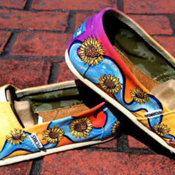 Made to Order Custom Painted TOMS Triple Sugar Skull Shoes