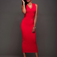 Hot Pink Sleeveless Plung Midi Dress