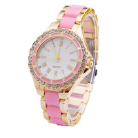 Womens Classic Style Gold Alloy Watch Girls Fashion Casual Diamond Watches Best Gift