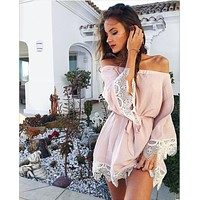 Solid Color Fashion Off Shoulder Long Sleeve Lace Stitching Mini Dress