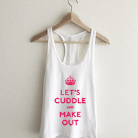 Let's Cuddle and Make Out Keep Calm Magenta Racerback Tank Top
