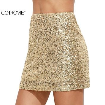 Women Short Skirt Women Clothing Sexy Club wear Solid Gold Embroidered Sequin  A Line Mini Skirt
