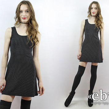 90s Mini Dress 90s Dress 1990s Dress Pinstriped Dress 90s Grunge Dress All That Jazz Dress Spandex Dress Stretch Dress Black Dress XS S