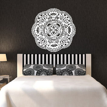 Mandala Wall Decals Bedroom Yoga Sticker Marrocan Pattern Om Symbol Decal Meditation Bohemian Decor T125