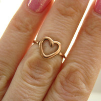 Copper knuckle ring, heart stacking ring- Midi ring -Hammered -Toe Ring - Ring on the finger phalanges - Handmade