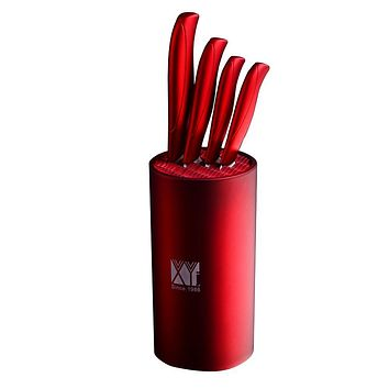 Red Color 8 Inch Kitchen Knife Holder And Ceramic Knife Paring Utility Slicing Chef Knife 5pcs Set XYj Brand Kitchen Accessories