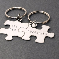 We Fit Perfectly Keychains for Couples, Valentines Day Gift for Couples, Puzzle Piece Keychains, Stamped Key chains Gift for her