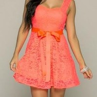 Everlasting Enchantment Illusion Vivid Coral Lace Dress