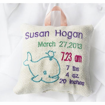 Whale Personalised birth Announcement Pillow, New Baby Pillow , New born Pillow Custom embroidery ,Whale Baby Pillow