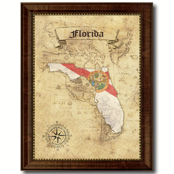 Florida State Vintage Map Home Decor Wall Art Office Decoration Gift Ideas
