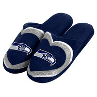 Seattle Seahawks Official NFL Womens Glitter Slide Slippers